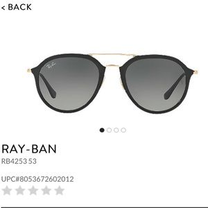 Ray ban black and gold aviator round